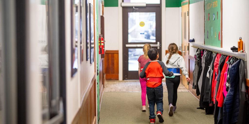 Students walking down the hallway of Nehalem Elementary School