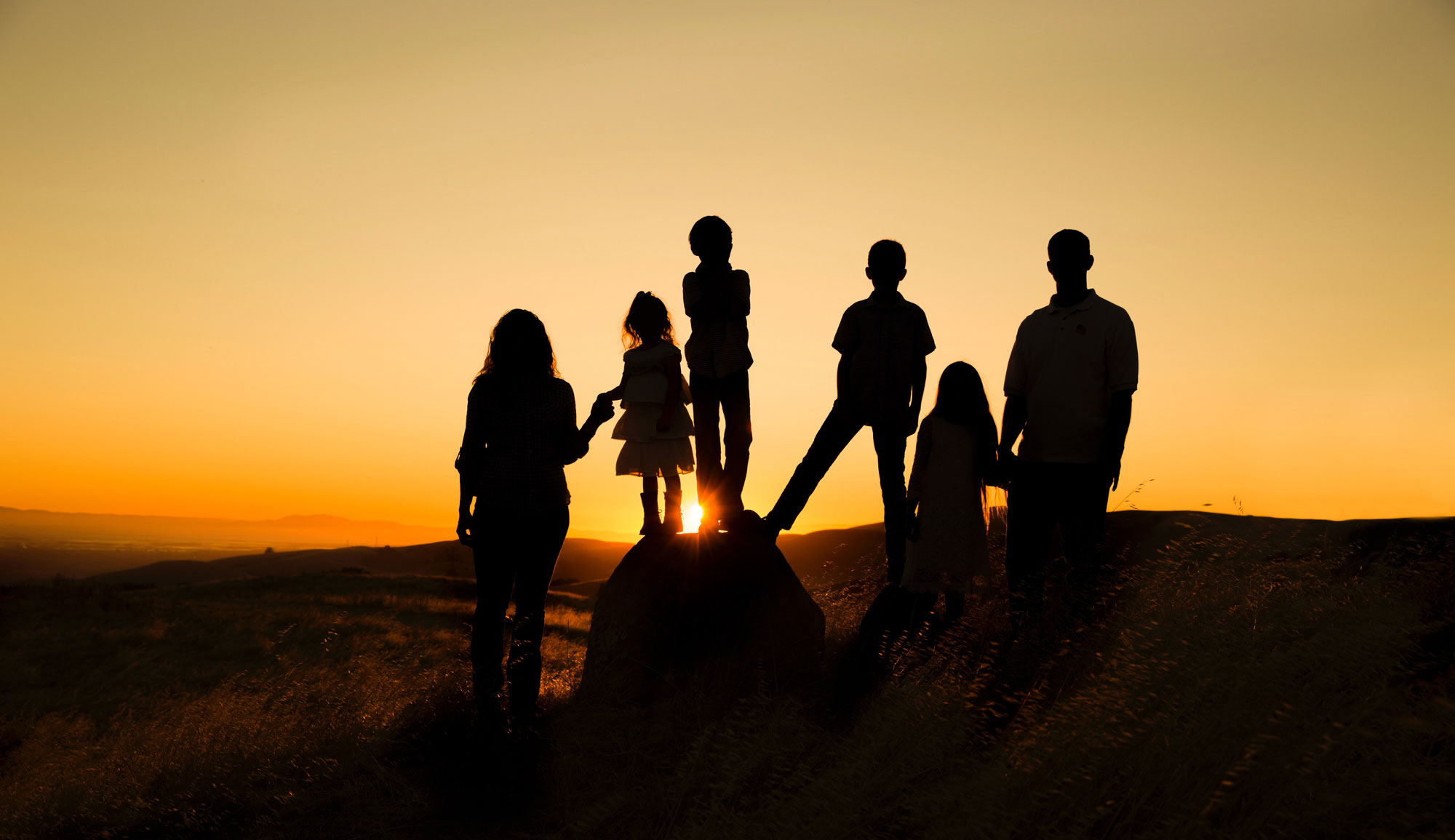 Silhouettes of students staring at the ocean at sunset.